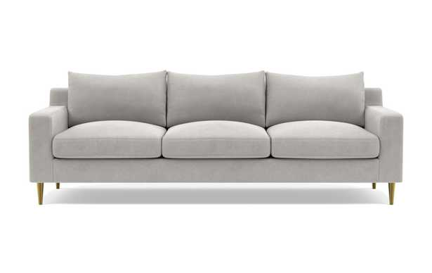 Sloan Deep Sofa with Grey Sterling Fabric, standard downblend cushions, and Brass Plated legs - Interior Define