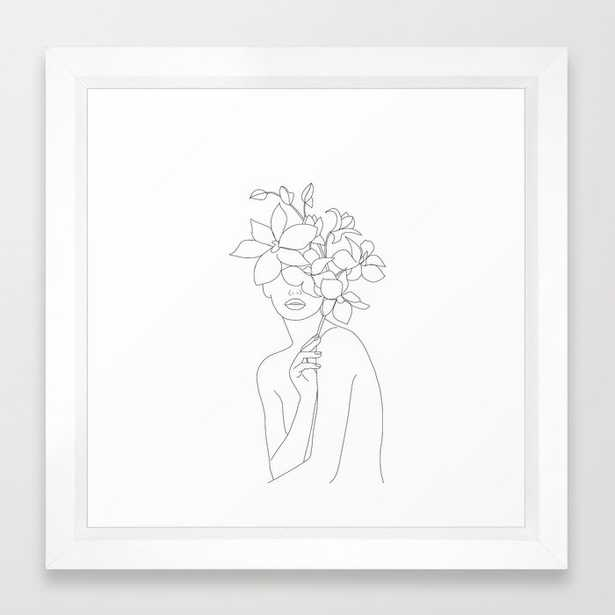 Minimal Line Art Woman with Orchids Framed Art Print (Vector White Frame) - Society6