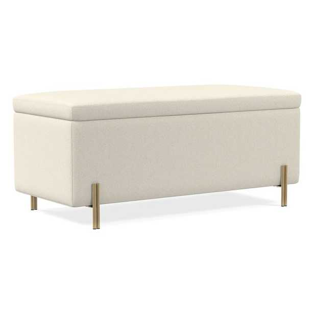 """Mod Storage Bench 42"""", Luxe Boucle, Stone White, Antique Brass - West Elm"""