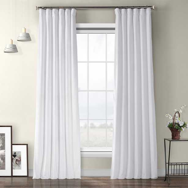 Exclusive Fabrics & Furnishings Pillow White Plush Velvet Curtain - 50 in. W x 84 in. L - Home Depot