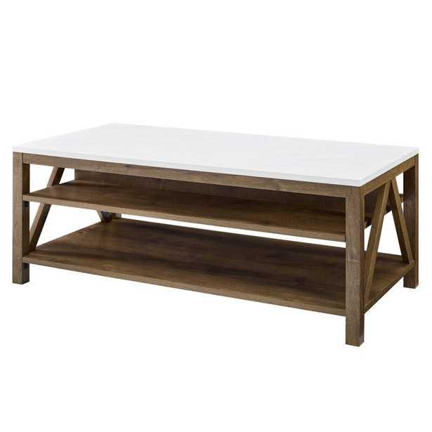 Vonda Coffee Table with Storage / White Marble/Natural Walnut - Wayfair