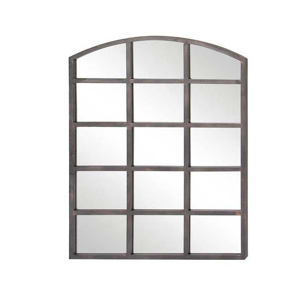 40 in. x 30 in. Arched Window Pane-Inspired Mettalic Black Decorative Wall Mirror - Home Depot
