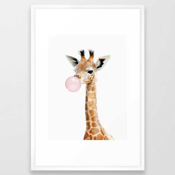 Bubble Gum Baby Giraffe - Vector White - Society6