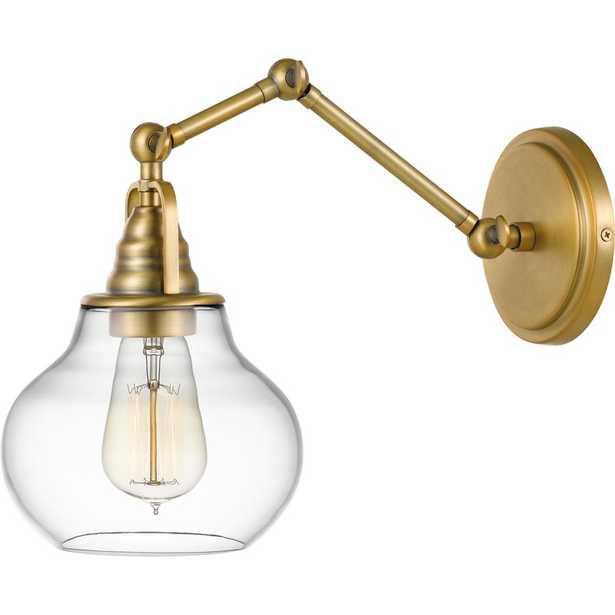 Rossie 1-Light Swing Arm Lamp, Weathered Brass - Wayfair