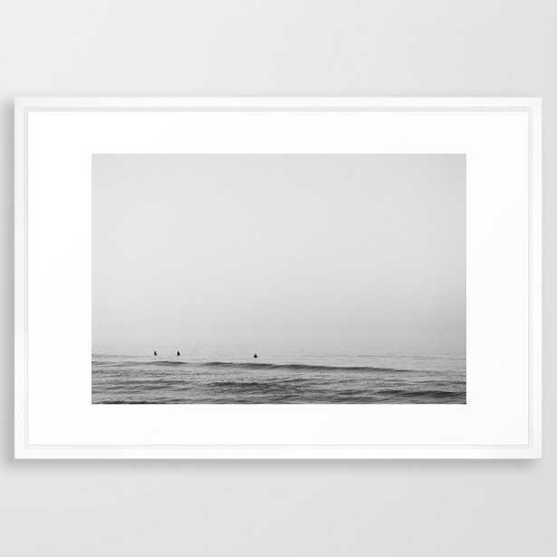 Surfers - Black and White Ocean Photography Huntington Beach California Framed Art Print - Society6