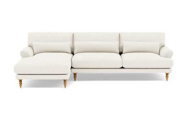 """MAXWELL Sectional Sofa with Left Chaise/ Natural Oak Turned Tapered Legs/118"""" - Interior Define"""