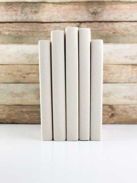 Set of 5 Decorative Books- Solid Cream - Havenly Essentials