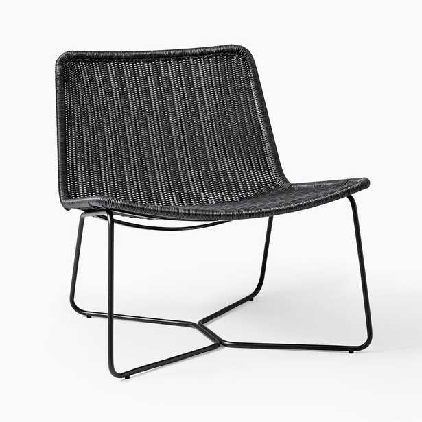 Slope Outdoor Lounge Chair, All Weather Wicker, Charcoal - West Elm