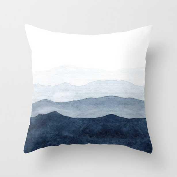 Indigo Abstract Watercolor Mountains Pillow - Society6