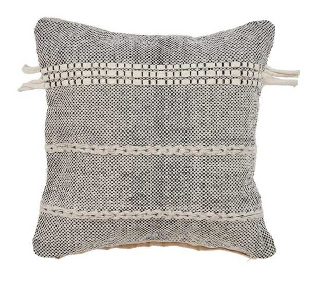 Zanthia Banded 20 in. x 20 in. Black Natural Pillow, Black/Natural - Home Depot