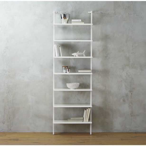 """stairway white 96"""" wall mounted bookcase - CB2"""