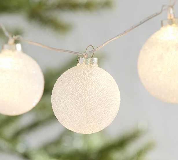 Frosted Ornament String Lights, 6' of decorative lights, 1' of extra cord - Pottery Barn