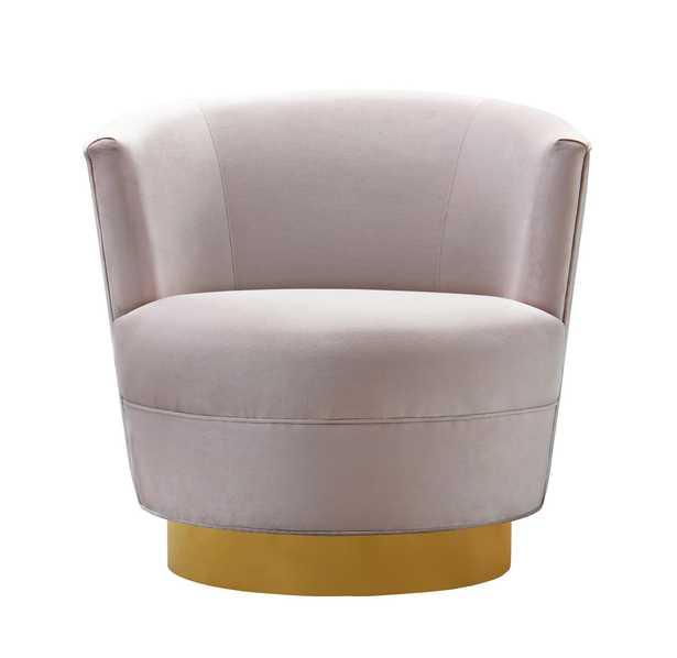 Raegan Blush Velvet Swivel Chair - Maren Home