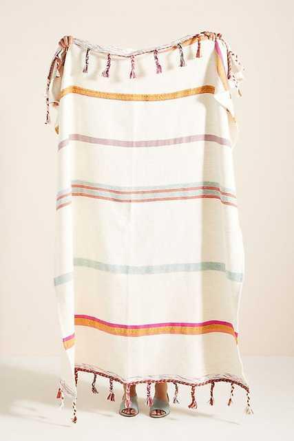 Woven Anya Striped Throw Blanket - Anthropologie
