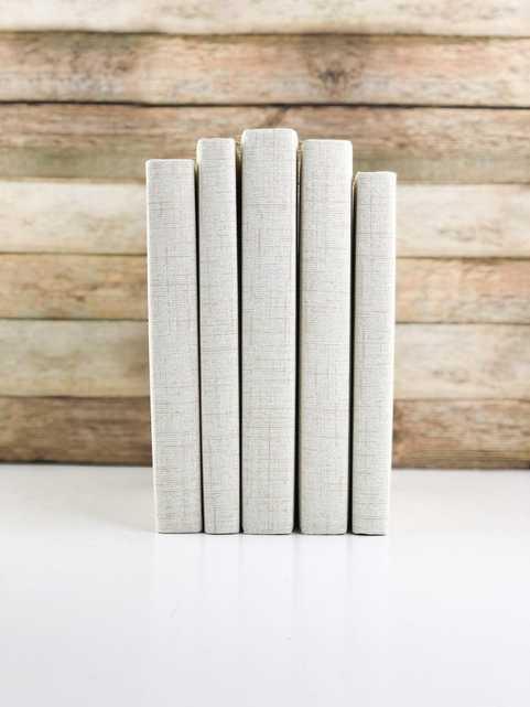 Set of 5 Decorative Books- Textured Cream - Havenly Essentials