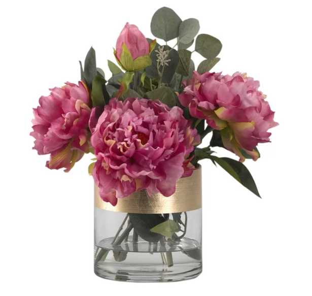 Peonies Floral Arrangement in Glass Vase - Wayfair