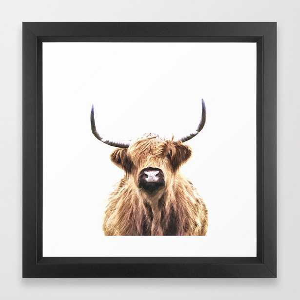 "Highland Cow Portrait Framed Art Print by Alemi 12""x12"" walnut - Society6"
