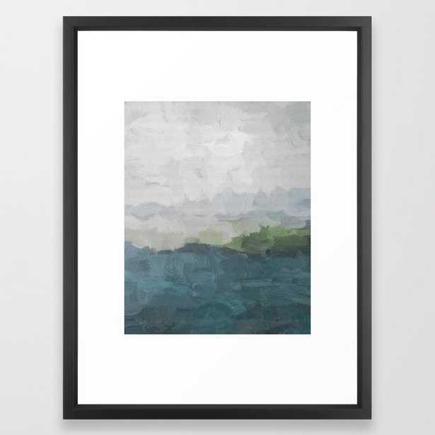 Gray Clouds Green Land Aqua Teal Water Ocean Waves Abstract Nature Painting Art Print Wall Decor Framed Art Print - Society6