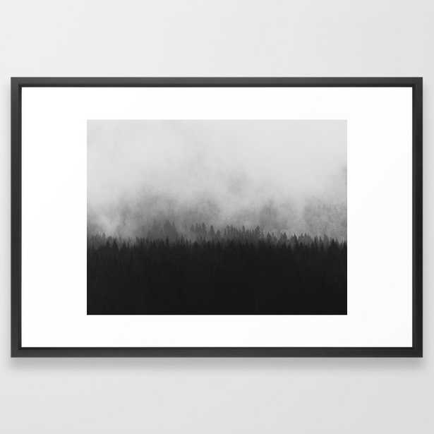 Minimalist Modern Black And white photography Landscape Misty Black Pine Forest Watercolor Effect Sp Framed Art Print - Society6