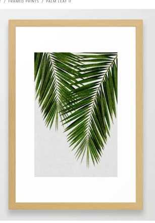 Palm Leaf II Framed Art Print - Society6