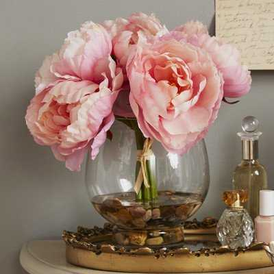 Peonies in a Glass Vase with River Rocks and Faux Water - Wayfair