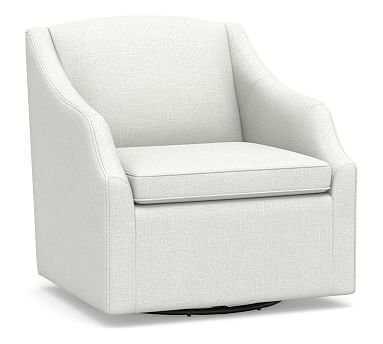 SoMa Emma Upholstered Swivel Armchair, Polyester Wrapped Cushions, Basketweave Slub Ivory - Pottery Barn