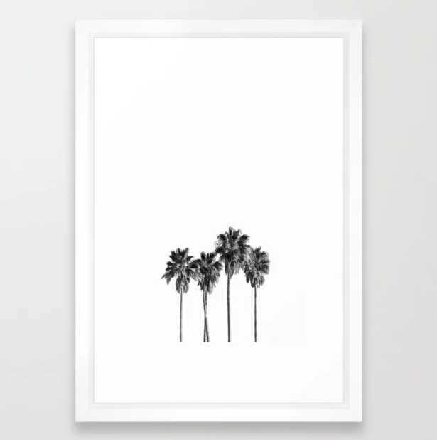"Palm trees 3 Framed Art Print; Vector White - Small 15"" x 21"" - Society6"