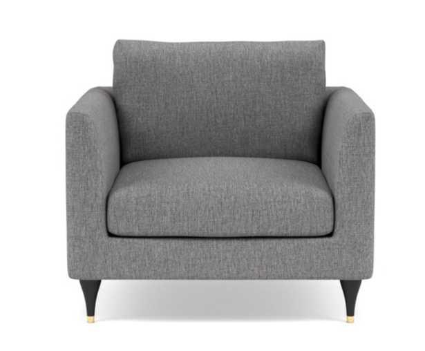 OWENS Accent Chair,Matte Black with Brass Cap Stiletto Leg - Interior Define