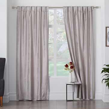 """Cotton Luster Velvet Curtain + Blackout Panel, 48""""x96"""", Individual , Platinum - West Elm"""