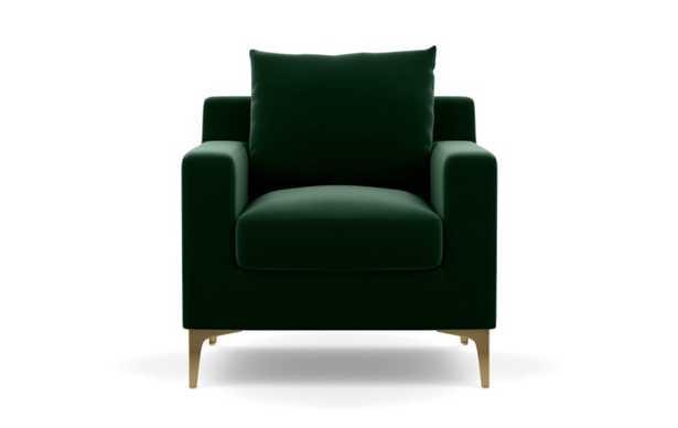 Sloan petite chair, Emerald green, Brass Legs - Interior Define