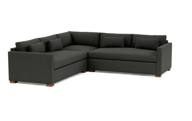 "CHARLY Corner Sectional Sofa; Onyx Monochromatic Plush;Oiled Walnut Block Leg; 118""Length; Standard Down Blend - Interior Define"