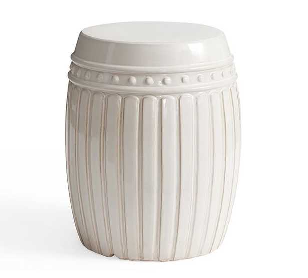 Reeded Ceramic Accent Table, White - Pottery Barn