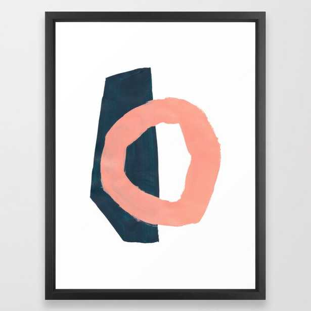 Minimalist Abstract Colorful Mid Century Modern Art Painting Pink Salmon Teal Blue Shapes Framed Art Print - Society6