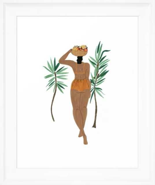 Fruit Basket Gal Framed Art Print framed scoop white - Society6