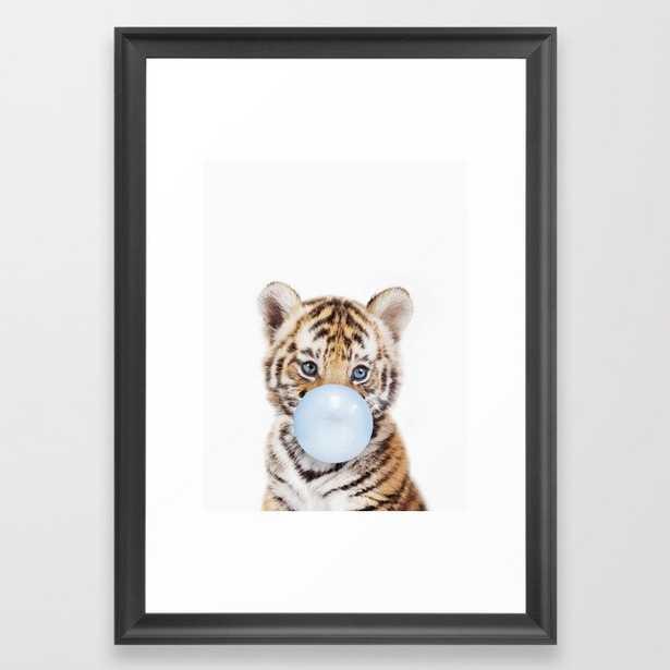 "Blue Bubble Gum Tiger Cub Framed Art Print - 15""x21"" - Scoop Black - Society6"