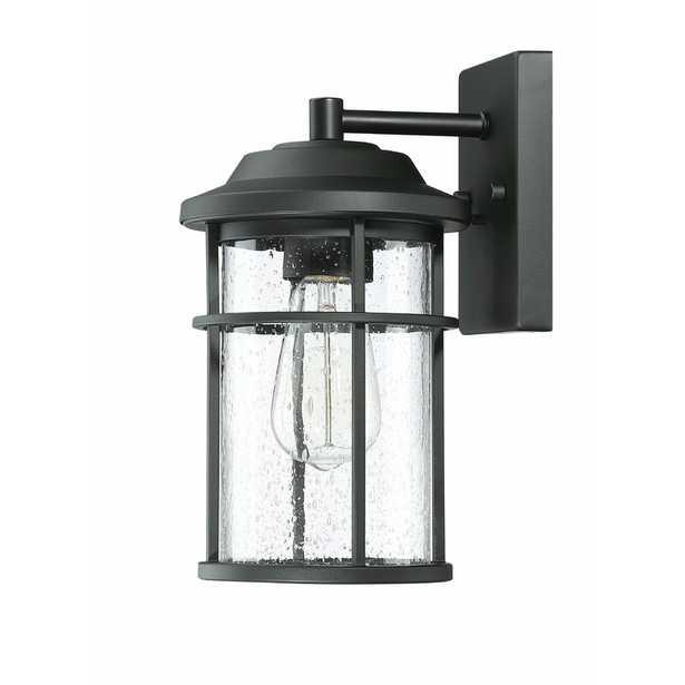 Ellenor Black/Clear 11.92'' H Seeded Glass Outdoor Wall Lantern - Wayfair