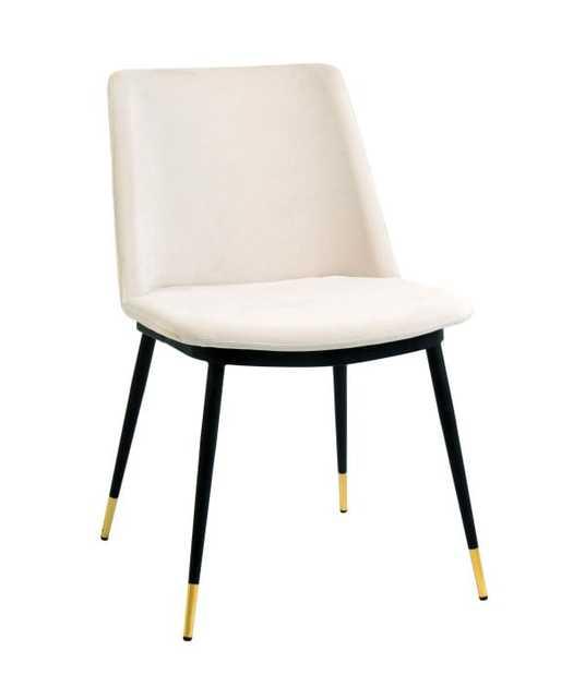 Iris Cream Velvet Chair - Lilly Legs - Set of 2 - Maren Home