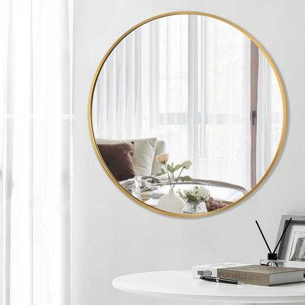 Modern Brushed Metal Frame 36 in. x 36 in. Round Gold Wall Mirror Wall-Mounted Vanity Mirror - Home Depot