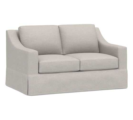 """York Slope Slipcovered Loveseat 60"""", Down Blend Wrapped Cushions, Heathered Twill Stone - Pottery Barn"""