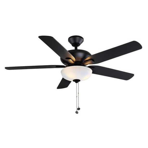 Holly Springs 52 in. LED Matte Black Ceiling Fan - Home Depot