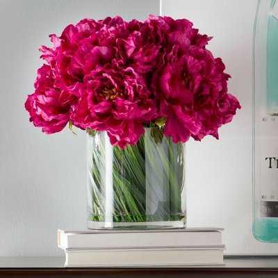 Magenta Peony Floral Arrangement in Acrylic Water Glass Vase - Birch Lane
