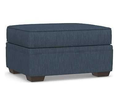 Pearce Roll Arm Upholstered Storage Ottoman, Polyester Wrapped Cushions, Performance Heathered Tweed Indigo - Pottery Barn