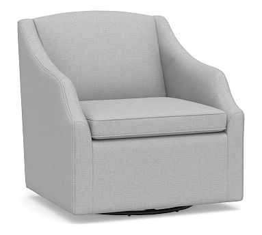 SoMa Emma Upholstered Swivel Armchair, Polyester Wrapped Cushions, Brushed Crossweave Light Gray - Pottery Barn