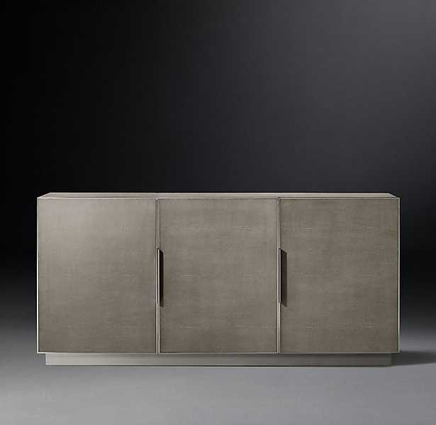 CELA SHAGREEN PANEL TRIPLE-DOOR SIDEBOARD / Fog Shagreen & Brushed Stainless Steel - RH Modern