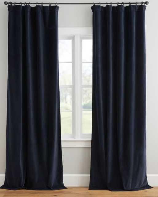 "Velvet Twill Curtain, 50 x 96"", Navy - Pottery Barn"