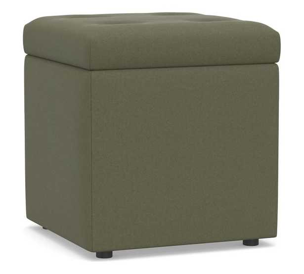 Marlow Upholstered Storage Cube, Performance Heathered Velvet Olive - Pottery Barn
