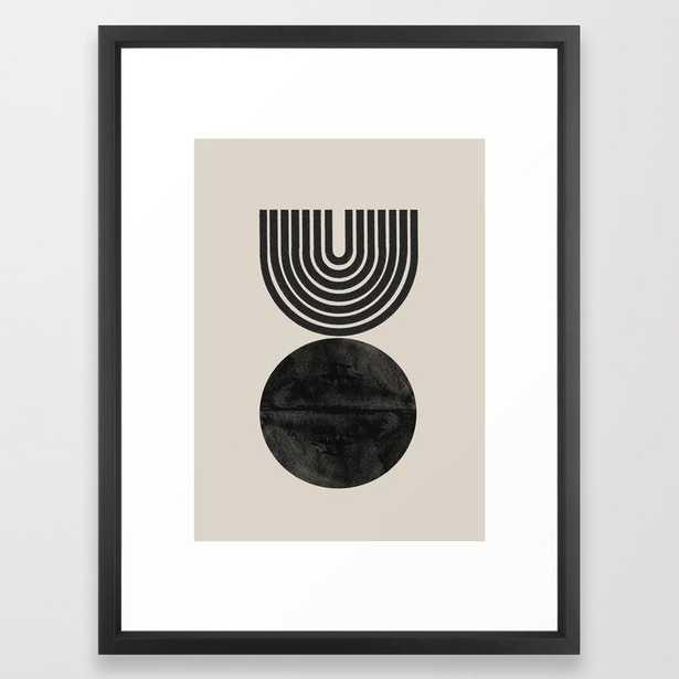Woodblock Print, Modern Art Framed Art Print - Vector Black - 20x26 - Society6