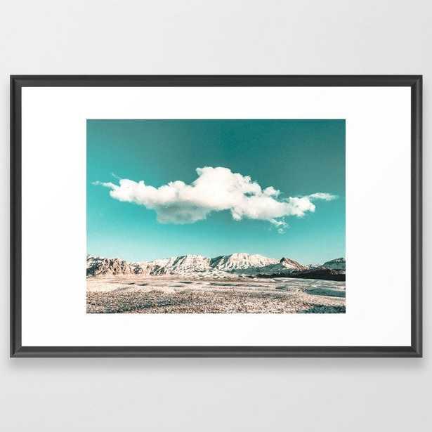 Vintage Desert Snow Cloud // Scenic Desert Landscape in Winter Fluffy Clouds Snow Mountains Cacti Framed Art Print by desert + palm - Society6
