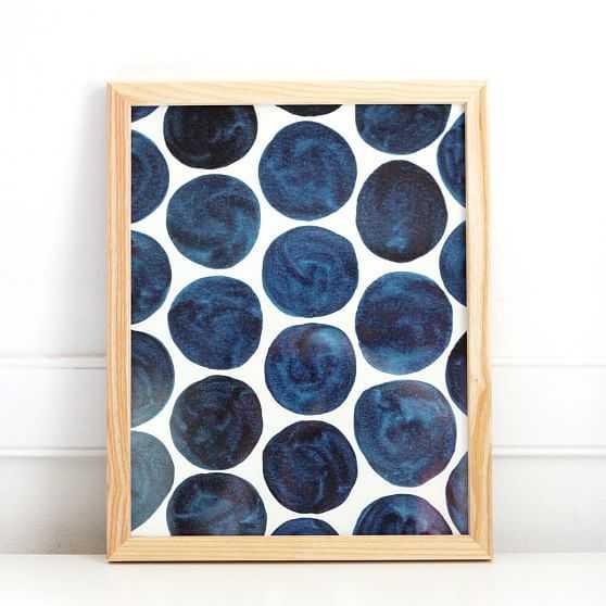 Pauline Stanley Studio Wall Art, Blue Dots, Wood Frame, Blue & White - West Elm