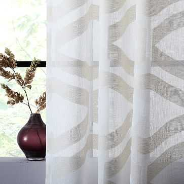 """Sheer Clipped Jacquard Geo Curtain, Ivory, 48""""x96"""" - West Elm"""